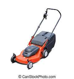 lawn mower - Orange lawn mower. Isolated over white...