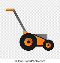Orange lawnmower icon, cartoon style