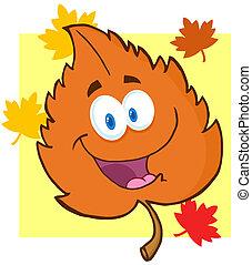 Orange Leaf Cartoon Character