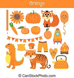 Orange. Learn the color. Education set. Illustration of primary colors