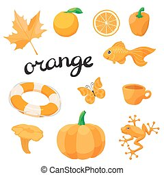 Orange. Learn the color. Education set. Illustration of primary colors.