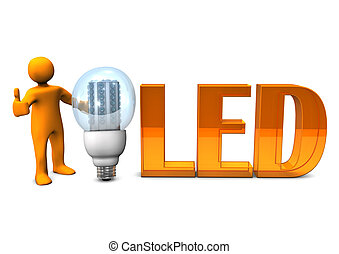 Orange LED OK - Orange cartoon character with orange text...