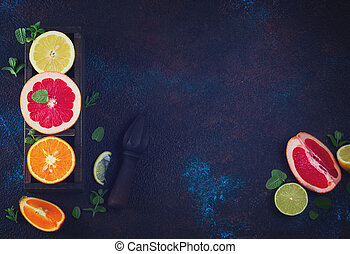 Orange, lemon and grapefruit