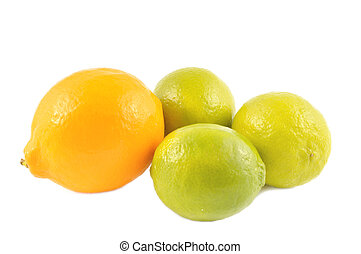 Orange lemon and lime on a white background