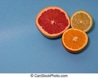 Orange lemon grapefruit