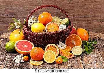 orange, lemon, grapefruit