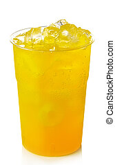 Orange lemonade - Plastic glass of orange lemonade with ice ...