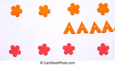 Orange letter A of the English alphabet. Dancing letter on a white background.