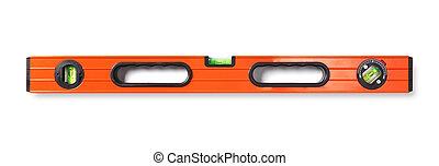 Orange level tool isolated on white background.