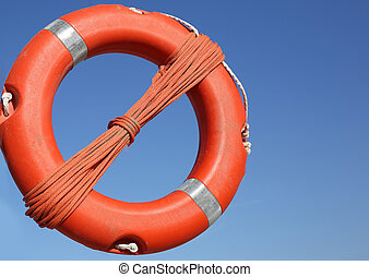 Orange life buoy for the rescue of persons