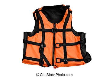 Orange life jacket isolated water sports outfit on white background