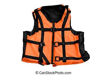 Orange life vest isolated - Orange life jacket isolated...