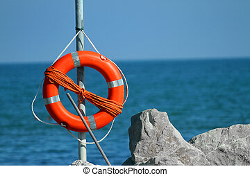 lifeboat in the sea on a hot summer day