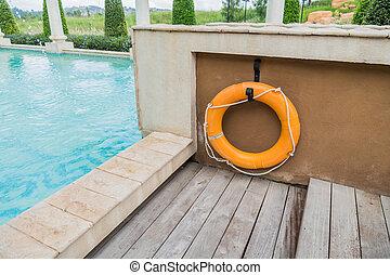Orange lifebuoy,All Water rescue emergency equipment.