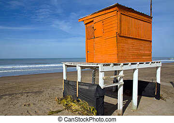 Orange lifeguard tower - Lifeguard tower at the argentinean ...