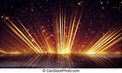 orange light beams and shimmering particles loopable background