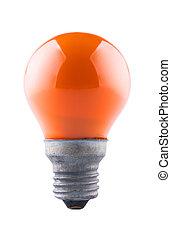 Orange light bulb, isolated