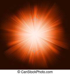 Orange light burst with sparkling stars. EPS 8
