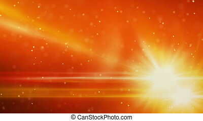 orange light flares and particles loop background