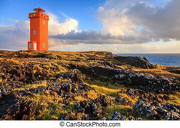Orange lighthouse - Lighthouse at Snaefellsnes Peninsula in...