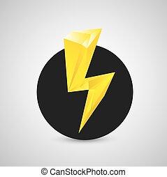 orange lightning bolt vector icon. Lightning logo - orange...
