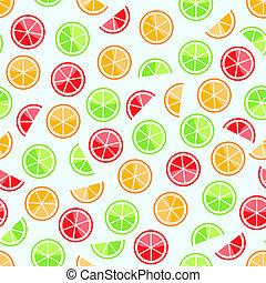 orange lime grapefruit seamless pattern on ligth background