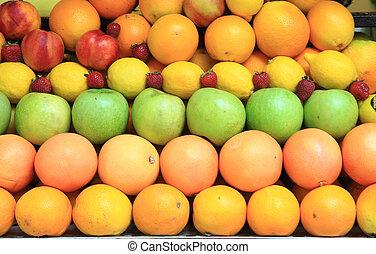 orange lime lemon strawberry as very nice fruit background