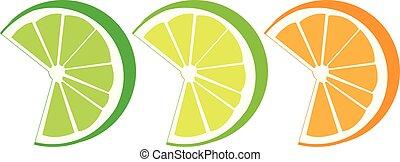 orange, limette, zitrone schneidet