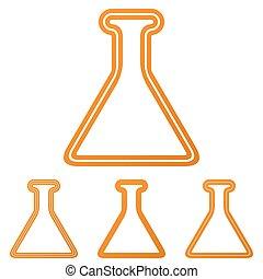 Orange line alchemy logo design set
