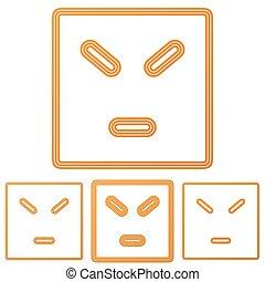 Orange line anger logo design set