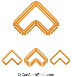 Orange line arrow logo design set