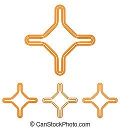 Orange line corporate logo design set