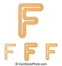 Orange line f logo design set