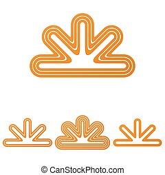 Orange line geometric logo design set