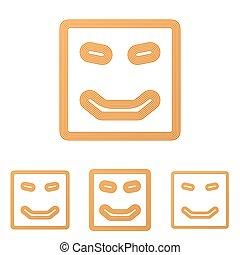 Orange line happy logo design set