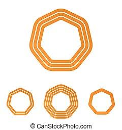 Orange line heptagon logo design set