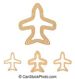 Orange line jet logo design set