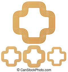 Orange line plus logo design set