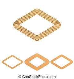 Orange line rhombus logo design set
