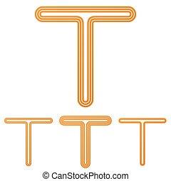 Orange line t logo design set