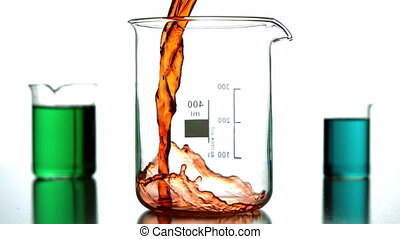 Orange liquid pouring into beaker