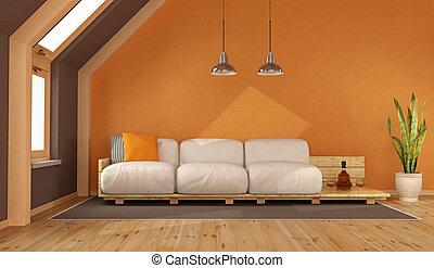 Orange living room in the attic