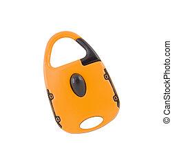 Orange lock for bag