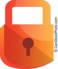Orange lock simple vector illustration on a white background