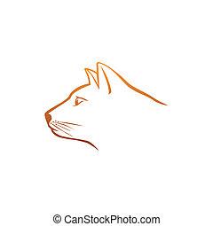 orange, logo, tête, chat