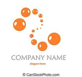 Orange logo with bubbles