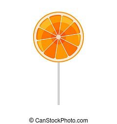 Orange lollipop. Vector illustration on a white background.