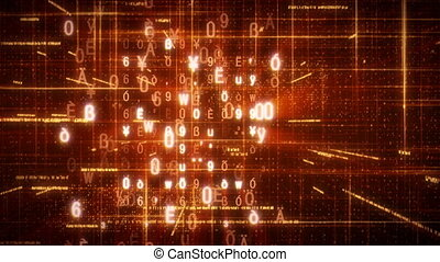 orange loopable abstract background - computer generated...