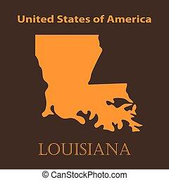 Orange Louisiana map - vector illustration.
