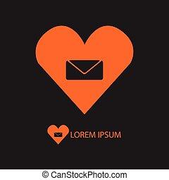 Orange love mail sign on black
